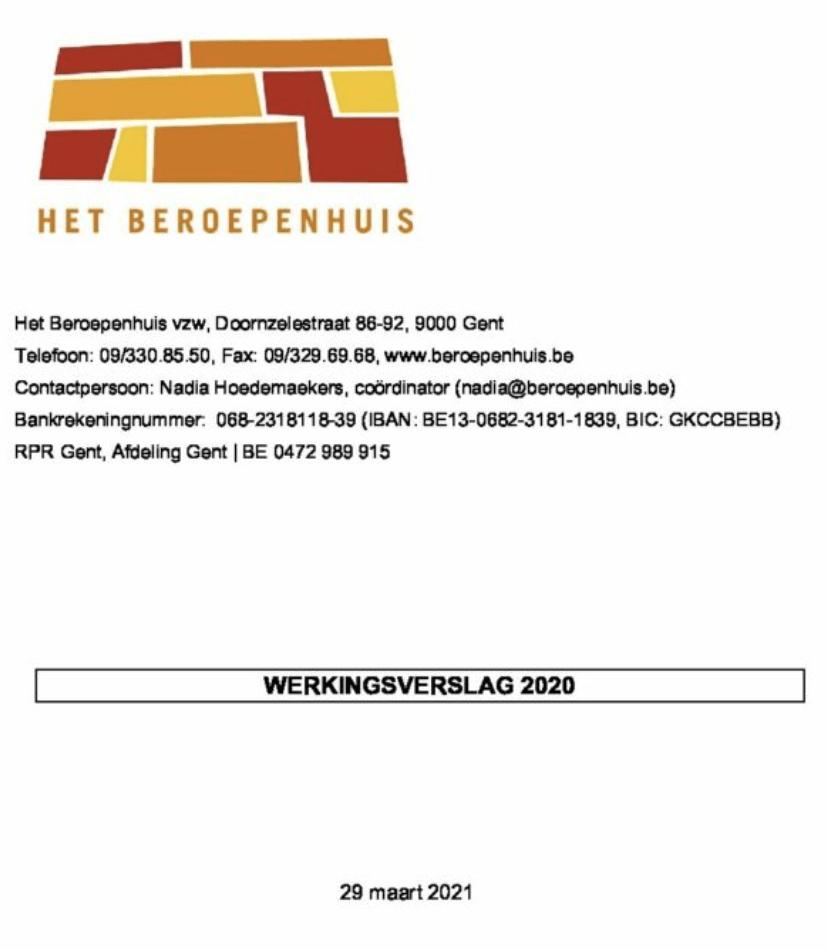 cover werkingsverslag 2020 Het Beroepenhuis Gent